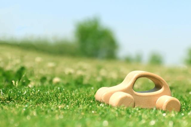 芝生の上の木製のミニカー