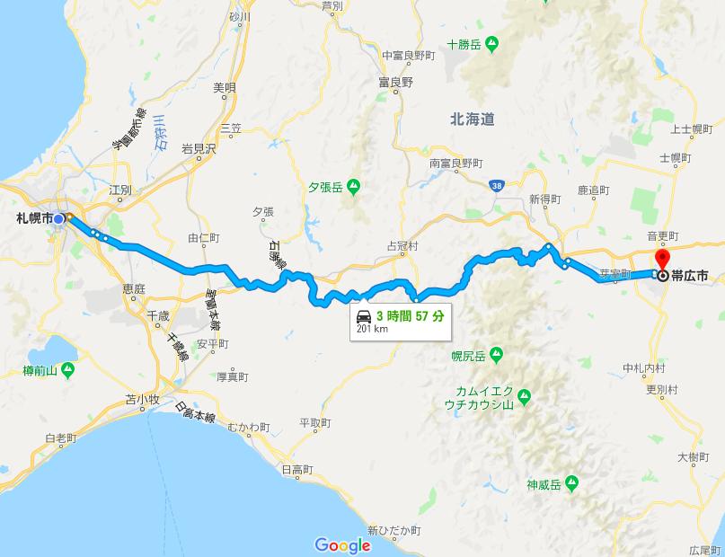 札幌から帯広までの一般道を走るルート