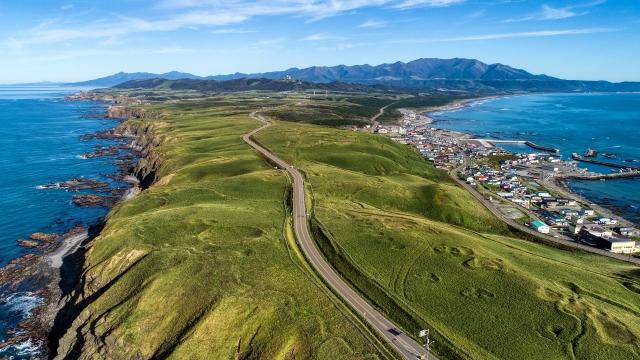 襟裳岬の空撮写真