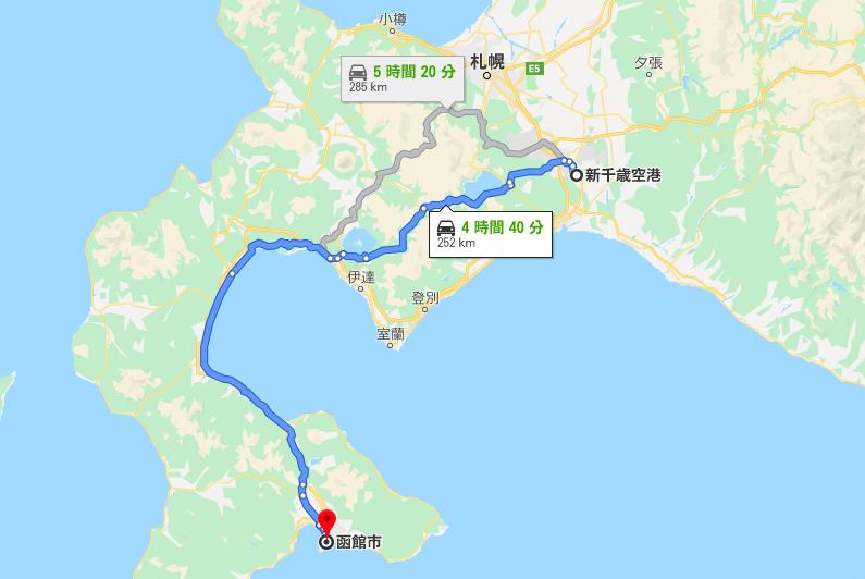 新千歳空港から函館までの一般道ルート