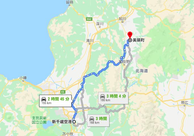 新千歳空港から美瑛までの一般道ルート