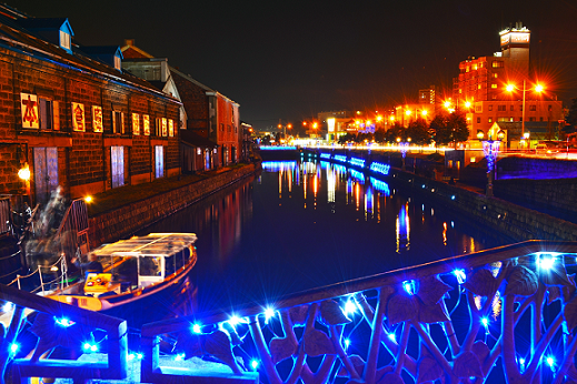 小樽運河青いイルミネーション