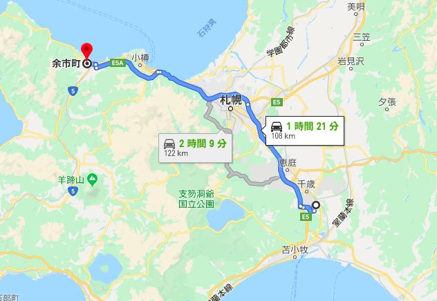 新千歳空港から余市までの有料道路ルート
