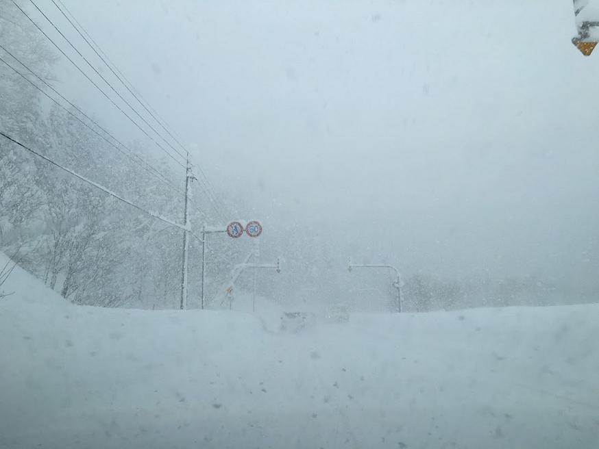 ホワイトアウトした道路
