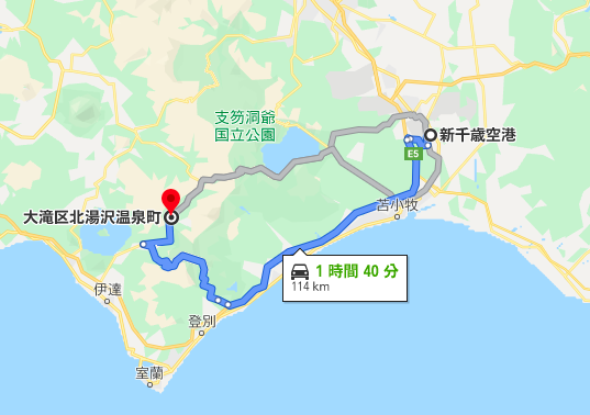 新千歳空港から北湯沢までの高速道路ルート