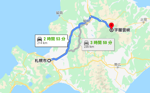 札幌から層雲峡までの高速道路ルート
