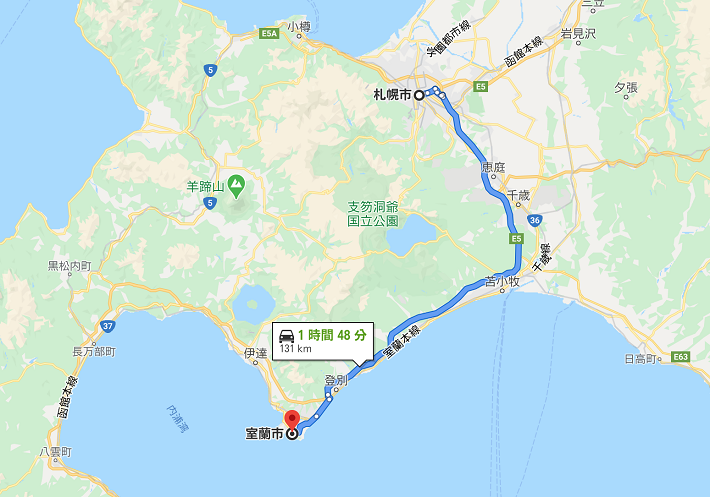 札幌から室蘭までの高速道路ルート