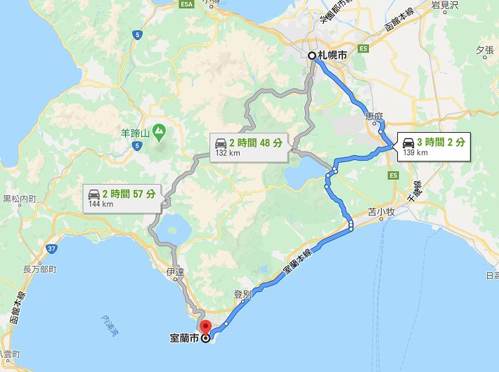 札幌から室蘭までの距離
