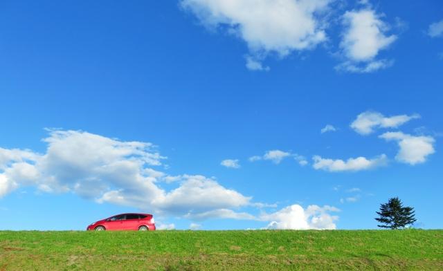 青空の下で草原を走る車