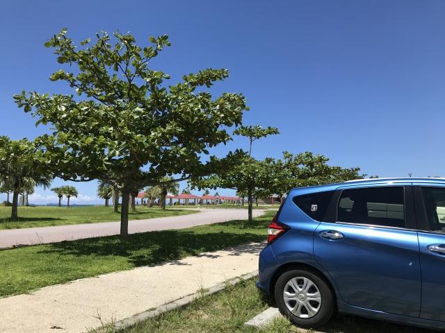 駐車する青い車