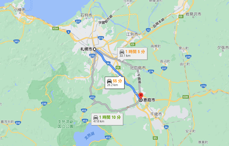 札幌から恵庭までの距離とルート